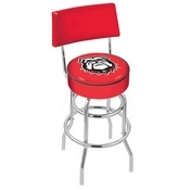 L7C4 - Chrome Double Ring Georgia Bulldog Swivel Bar Stool with a Back by Holland Bar Stool Company