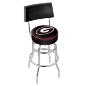 L7C4 - Chrome Double Ring Georgia G Swivel Bar Stool with a Back by Holland Bar Stool Company