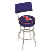 L7C4 - Chrome Double Ring Illinois Swivel Bar Stool with a Back by Holland Bar Stool Company
