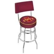 L7C4 - Chrome Double Ring Iowa State Swivel Bar Stool with a Back by Holland Bar Stool Company