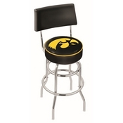 L7C4 - Chrome Double Ring Iowa Swivel Bar Stool with a Back by Holland Bar Stool Company