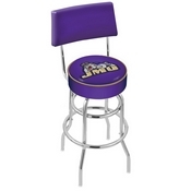 L7C4 - Chrome Double Ring James Madison Swivel Bar Stool with a Back by Holland Bar Stool Company