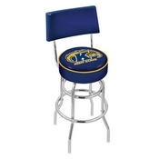 L7C4 - Chrome Double Ring Kent State Swivel Bar Stool with a Back by Holland Bar Stool Company