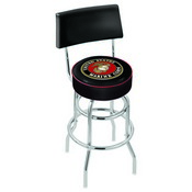L7C4 - Chrome Double Ring U.S. Marines Swivel Bar Stool with a Back by Holland Bar Stool Company
