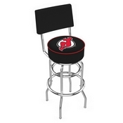 L7C4 - Chrome Double Ring New Jersey Devils Swivel Bar Stool with a Back by Holland Bar Stool Company