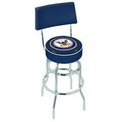 L7C4 - Chrome Double Ring U.S. Navy Swivel Bar Stool with a Back by Holland Bar Stool Company