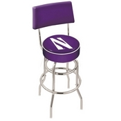 L7C4 - Chrome Double Ring Northwestern Swivel Bar Stool with a Back by Holland Bar Stool Company
