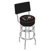 L7C4 - Chrome Double Ring Philadelphia Flyers Swivel Bar Stool with a Back by Holland Bar Stool Company