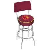 L7C4 - Chrome Double Ring USC Trojans Swivel Bar Stool with a Back by Holland Bar Stool Company