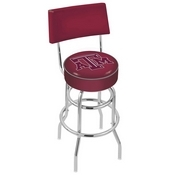 L7C4 - Chrome Double Ring Texas A&M Swivel Bar Stool with a Back by Holland Bar Stool Company