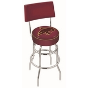 L7C4 - Chrome Double Ring Texas State Swivel Bar Stool with a Back by Holland Bar Stool Company