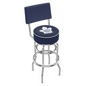 L7C4 - Chrome Double Ring Toronto Maple Leafs Swivel Bar Stool with a Back by Holland Bar Stool Company