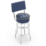 L7C4 - Chrome Double Ring US Naval Academy (NAVY) Swivel Bar Stool with a Back by Holland Bar Stool Company