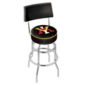 L7C4 - Chrome Double Ring Virginia Military Institute Swivel Bar Stool with a Back by Holland Bar Stool Company