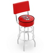L7C4 - Chrome Double Ring Wisconsin Badger Swivel Bar Stool with a Back by Holland Bar Stool Company
