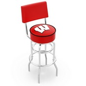 L7C4 - Chrome Double Ring Wisconsin W Swivel Bar Stool with a Back by Holland Bar Stool Company