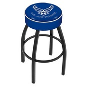 L8B1 - 4 U.S. Air Force Cushion Seat with Black Wrinkle Base Swivel Bar Stool by Holland Bar Stool Company
