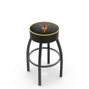 L8B1 - 4 Arizona State Cushion Seat with Black Wrinkle Base Swivel Bar Stool and Pitchfork Logo by Holland Bar Stool Company