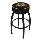 L8B1 - 4 Boston Bruins Cushion Seat with Black Wrinkle Base Swivel Bar Stool by Holland Bar Stool Company