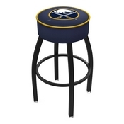 L8B1 - 4 Buffalo Sabres Cushion Seat with Black Wrinkle Base Swivel Bar Stool by Holland Bar Stool Company