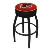 L8B1 - 4 Calgary Flames Cushion Seat with Black Wrinkle Base Swivel Bar Stool by Holland Bar Stool Company