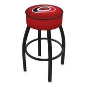 L8B1 - 4 Carolina Hurricanes Cushion Seat with Black Wrinkle Base Swivel Bar Stool by Holland Bar Stool Company