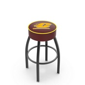 L8B1 - 4 Central Michigan Cushion Seat with Black Wrinkle Base Swivel Bar Stool by Holland Bar Stool Company