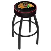L8B1 - 4 Chicago Blackhawks Cushion Seat with Black Wrinkle Base Swivel Bar Stool by Holland Bar Stool Company