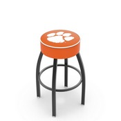 L8B1 - 4 Clemson Cushion Seat with Black Wrinkle Base Swivel Bar Stool by Holland Bar Stool Company