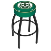 L8B1 - 4 Colorado State Cushion Seat with Black Wrinkle Base Swivel Bar Stool by Holland Bar Stool Company
