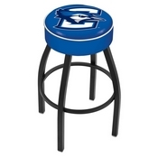 L8B1 - 4 Creighton Cushion Seat with Black Wrinkle Base Swivel Bar Stool by Holland Bar Stool Company