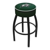 L8B1 - 4 Dallas Stars Cushion Seat with Black Wrinkle Base Swivel Bar Stool by Holland Bar Stool Company