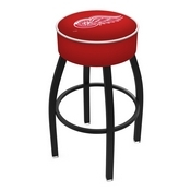 L8B1 - 4 Detroit Red Wings Cushion Seat with Black Wrinkle Base Swivel Bar Stool by Holland Bar Stool Company