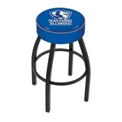 L8B1 - 4 Eastern Illinois Cushion Seat with Black Wrinkle Base Swivel Bar Stool by Holland Bar Stool Company