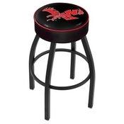 L8B1 - 4 Eastern Washington Cushion Seat with Black Wrinkle Base Swivel Bar Stool by Holland Bar Stool Company