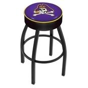 L8B1 - 4 East Carolina Cushion Seat with Black Wrinkle Base Swivel Bar Stool by Holland Bar Stool Company