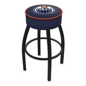 L8B1 - 4 Edmonton Oilers Cushion Seat with Black Wrinkle Base Swivel Bar Stool by Holland Bar Stool Company
