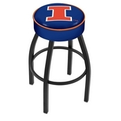 L8B1 - 4 Illinois Cushion Seat with Black Wrinkle Base Swivel Bar Stool by Holland Bar Stool Company