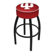 L8B1 - 4 Indiana Cushion Seat with Black Wrinkle Base Swivel Bar Stool by Holland Bar Stool Company