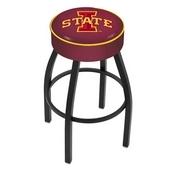 L8B1 - 4 Iowa State Cushion Seat with Black Wrinkle Base Swivel Bar Stool by Holland Bar Stool Company