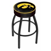 L8B1 - 4 Iowa Cushion Seat with Black Wrinkle Base Swivel Bar Stool by Holland Bar Stool Company