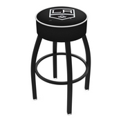L8B1 - 4 Los Angeles Kings Cushion Seat with Black Wrinkle Base Swivel Bar Stool by Holland Bar Stool Company