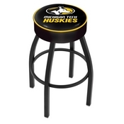 L8B1 - 4 Michigan Tech Cushion Seat with Black Wrinkle Base Swivel Bar Stool by Holland Bar Stool Company
