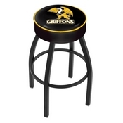 L8B1 - 4 Missouri Western State Cushion Seat with Black Wrinkle Base Swivel Bar Stool by Holland Bar Stool Company