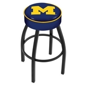 L8B1 - 4 Michigan Cushion Seat with Black Wrinkle Base Swivel Bar Stool by Holland Bar Stool Company