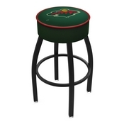 L8B1 - 4 Minnesota Wild Cushion Seat with Black Wrinkle Base Swivel Bar Stool by Holland Bar Stool Company