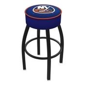 L8B1 - 4 New York Islanders Cushion Seat with Black Wrinkle Base Swivel Bar Stool by Holland Bar Stool Company
