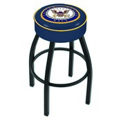 L8B1 - 4 U.S. Navy Cushion Seat with Black Wrinkle Base Swivel Bar Stool by Holland Bar Stool Company