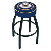 L8B1 - 4 U.S. Navy Cushion Seat with Black Wrinkle Base Swivel Bar Stool by Holland Bar Stool Company