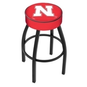 L8B1 - 4 Nebraska Cushion Seat with Black Wrinkle Base Swivel Bar Stool by Holland Bar Stool Company